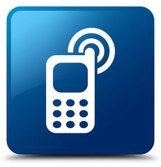 Cellphone ringing icon blue square button