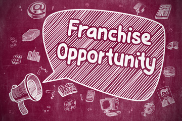 Business Concept. Horn Speaker with Phrase Franchise Opportunity. Cartoon Illustration on Red Chalkboard.
