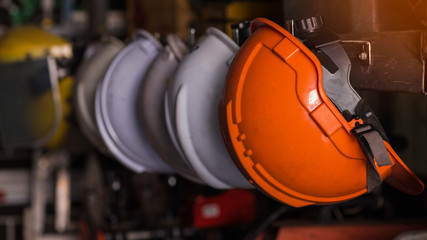 Close up safety helmet worker equipment.selective focus.
