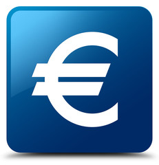 Euro sign icon blue square button