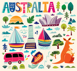 Illustration with Australian symbols