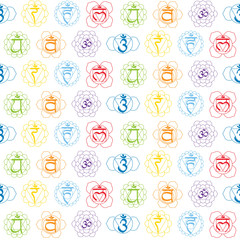 seamless pattern with signs and names of chakras in Sanskrit for your design