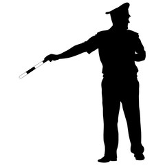Black silhouettes of Police officer with a rod on white background
