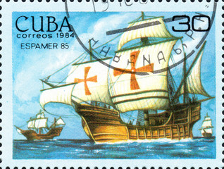 UKRAINE - CIRCA 2017: A postage stamp printed in Cuba shows Columbus fleet, from the series International Philately Exhibition of Iberoamerica Havana Espamer 85, circa 1984