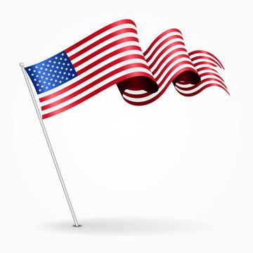 American pin wavy flag. Vector illustration.