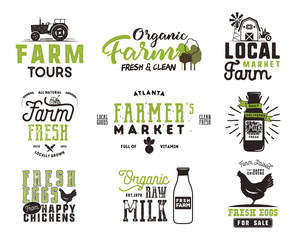 Farmer s Market, organic food, milk and eggs badges set. Fresh and Local product logo designs. Typographic eco farm insignia in black and green style. Isolated on white background. Vector patches