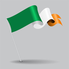 Irish pin wavy flag. Vector illustration.