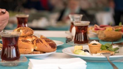 turkish breakfast in a restaurant