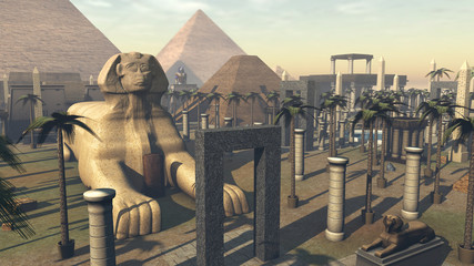 Ancient sphinx and architecture in a city of Egypt. 3D rendering
