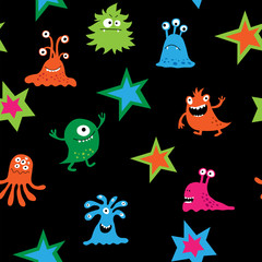 Cute seamless pattern with bright children's patterns and monsters