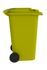 Beside view of yellow garbage wheelie bin with a closed lid on a white background, 3D rendering