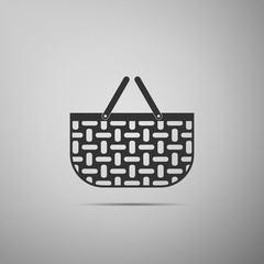 Shopping basket flat icon on grey background. Vector Illustration