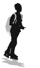Teen skater with bacpack and mobile. Vector silhouette
