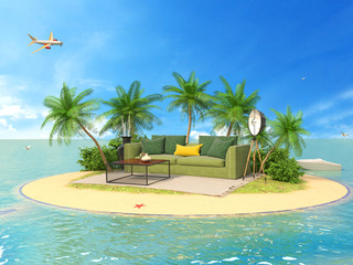 The concept of vacation. Rest on soft furniture on the island. 3d illustration
