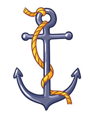 Anchor on a white background. Vector illustration with rope and anchor.