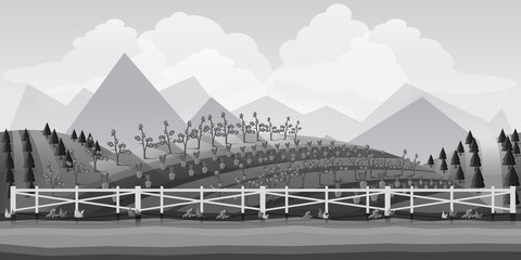 Landscape for game.Background for game. Black and white background.Seamless cartoon landscape