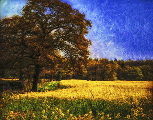 Impressionistic effect picture of tree growing at side of a field full of rape-seed in yellow bloom with blue sky