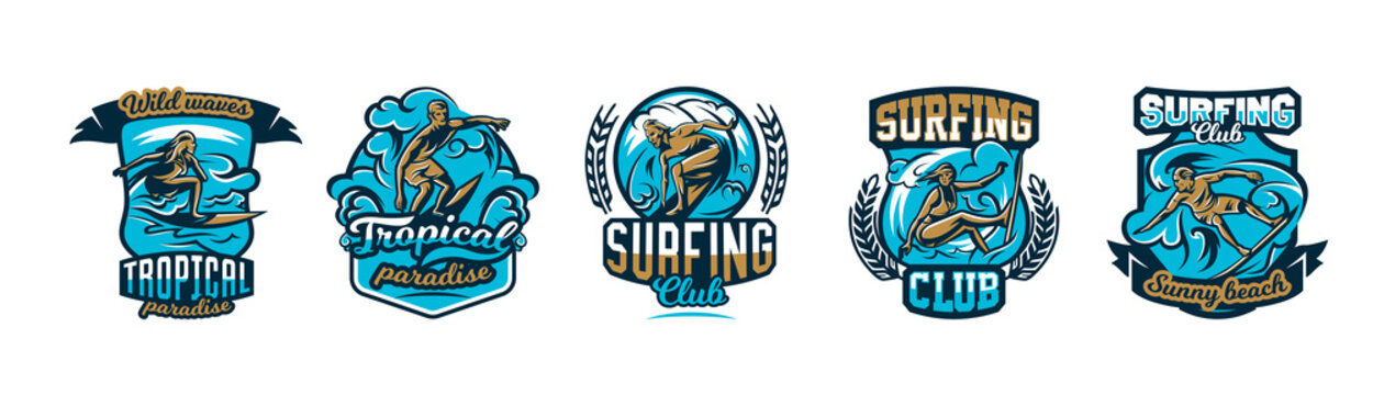 A collection of logos, surfing emblems. People are drifting on the board on the waves, extreme sports.