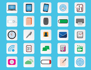25 Computer and office flat color icons