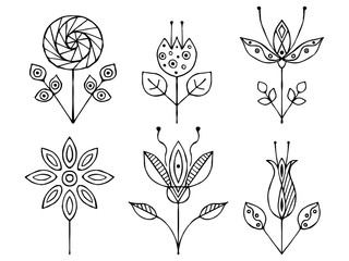 Set of vector hand drawn decorative stylized black and white childish flowers. Doodle style, graphic illustration. Ornamental cute line drawing. Series of doodle, cartoon, sketch illustrations.
