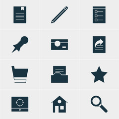 Vector Illustration Of 12 Web Icons. Editable Pack Of Board, House, Bookmark And Other Elements.