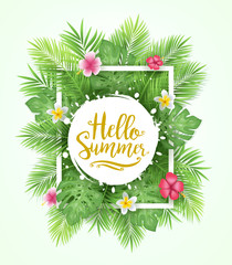 Tropical Leaves Background Hello Summer Lettering Vector Illustration
