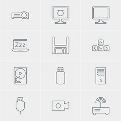 Vector Illustration Of 12 Notebook Icons. Editable Pack Of Diskette, Movie Cam, Mainframe And Other Elements.