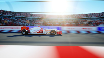 Race car. Very fast driving. 3d rendering.