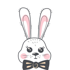 Cute cartoon rabbit with tie