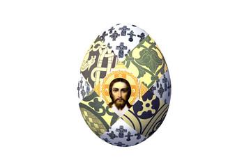 Пасхальное яйцо с орнаментом и ликом Христа