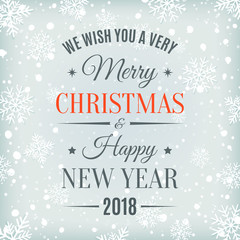 Merry Christmas and Happy New Year 2018 card.