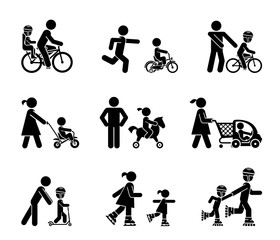 Parents and their kids on the move. Set of pictogram icons representing parents introducing their children with various types of rides.