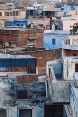 Pattern of the rooftop an aerial view. Densely built up area of India. Indian slums.