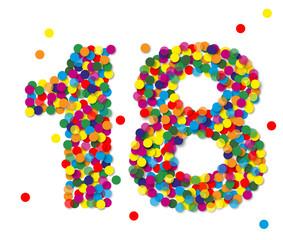 Konfetti Zahlen, Zahl 18, bunt, papier, vektor