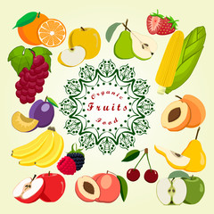 Vector illustration logo,isolated set: strawberry,orange,apple,pear,corn,peach,cherry,apricot,banana,plum,grape,blackberry,raspberry.white background.