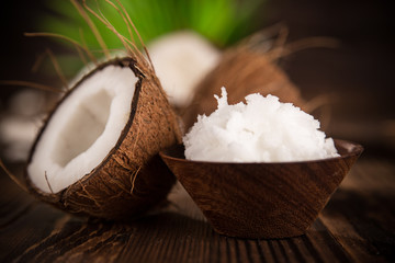 close up of a coconut oil