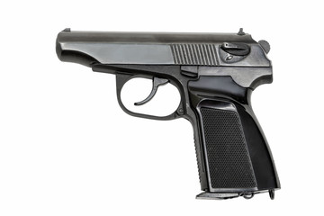 Black pistol on white background