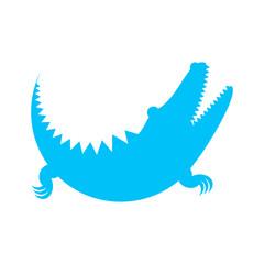 Crocodile blue icon made of circles. Vector illustration