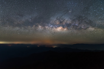 Clearly Milky way above the mountain.