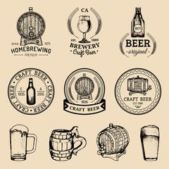 Old brewery logos set. Kraft beer retro images with hand sketched glass, barrel etc. Vector vintage labels or badges.