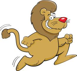 Cartoon illustration of a lion running.