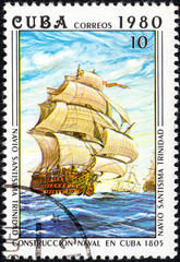 UKRAINE - CIRCA 2017: A postage stamp printed in Cuba shows the Cuban three-deck battleship Santissimo Trinidad built in the end of XVIII century from series Constructing of ships on Cuba, circa 1980