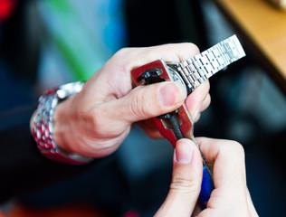 Watch repair in the workshop.