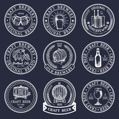 Old brewery logos set. Kraft beer retro signs with hand sketched glass, barrel, bottle etc. Vector lager, ale labels.