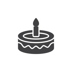 Fancy birthday cake icon vector, filled flat sign, solid pictogram isolated on white. Symbol, logo illustration. Pixel perfect