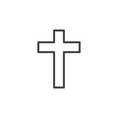 Christian cross line icon, outline vector sign, linear style pictogram isolated on white. Symbol, logo illustration. Editable stroke. Pixel perfect