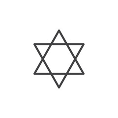 Star of David line icon, outline vector sign, linear style pictogram isolated on white. Symbol, logo illustration. Editable stroke. Pixel perfect