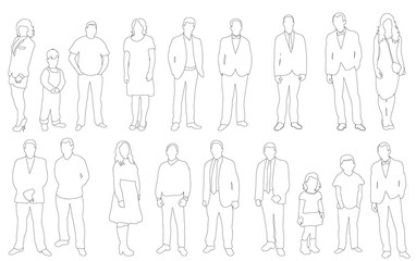 Vector illustration, collection people sketches, outlines