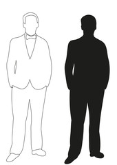 Vector illustration, outlines man stands, sketch and silhouette