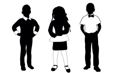 Silhouette boy and girl vector illustration collection